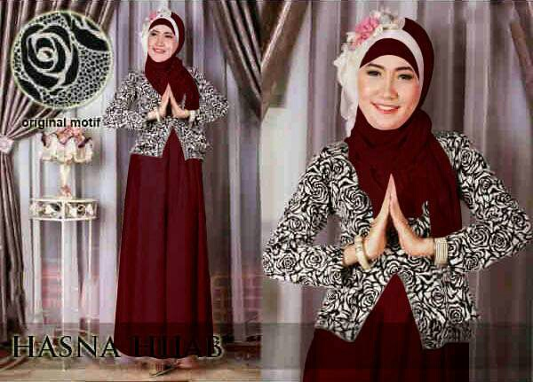 CAT-Hasna Maroon 3in1 Set Hijab / GAMIS HIJAB