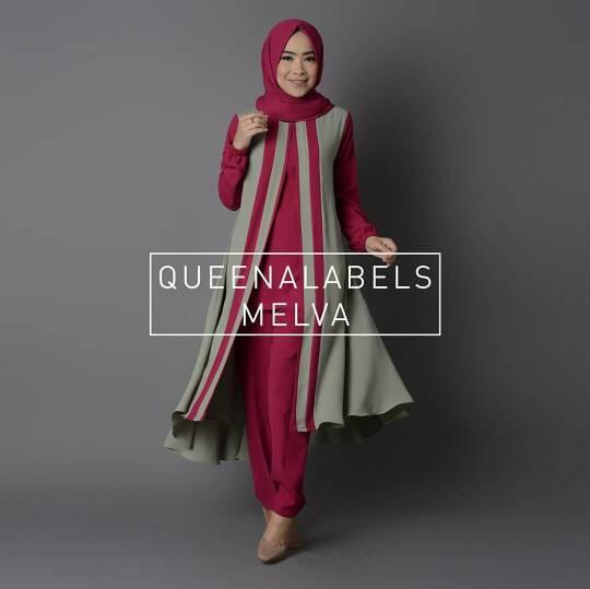 V1111 Hijab MELVA SET Merah-Abu