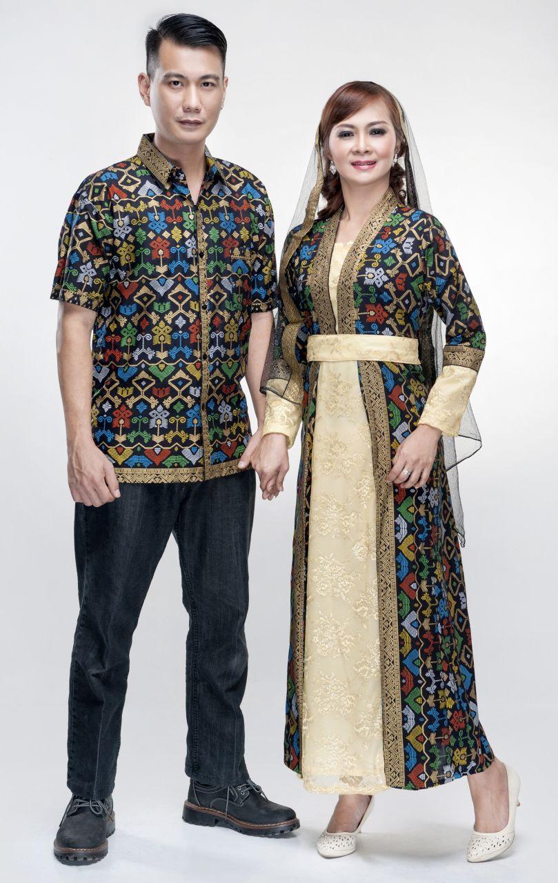 Jual Batik Sarimbit Gamis Batik Couple Brokat Mix Prada Bali Kd