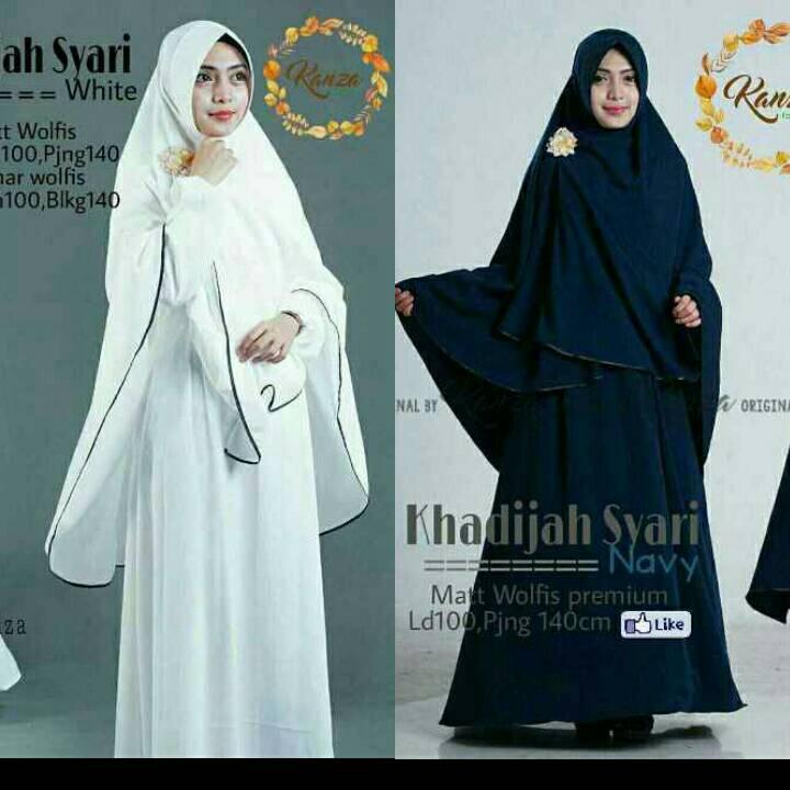 setelan gamis syari hitam polos putih polos gamis wolfis + hijab