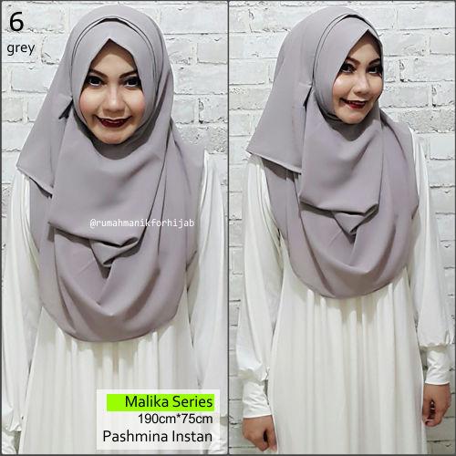 Pashmina Instan Malika Series Grey | No. 6 | hijab vanilla jilbab