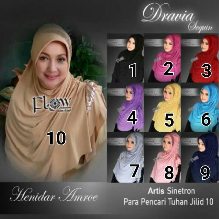 jual jilbab dravia sequin restock by flow hijab