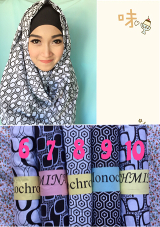 kerudung / hijab / jilbab pashmina monochrome 7