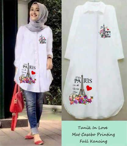 kemeja tunic in love mat twiscon allsize (blouse,atasan,muslim,hijab)