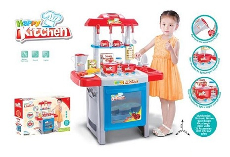 Jual cook fun kitchen set anak biru happy toys tokopedia for Kitchen set anak