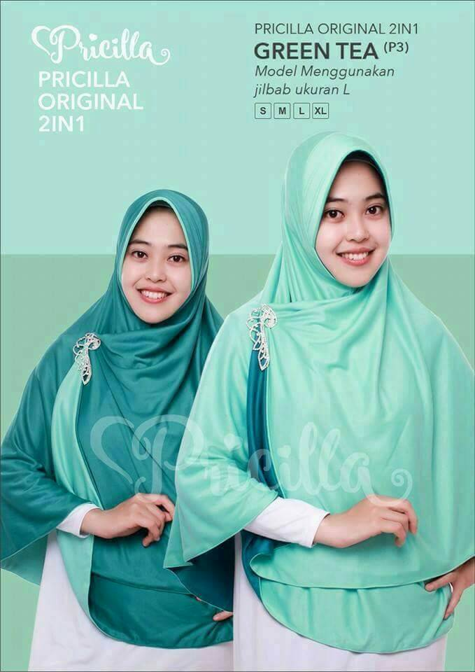 Hijab Pricilla Jilbab Pricilla Instan 2 in 1
