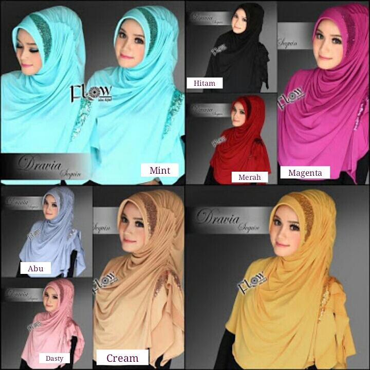 Hijab/Jilbab Syria Dravia Sequin Murah