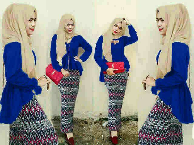 Hijab Peplum Blue Tribal  Set 3in1