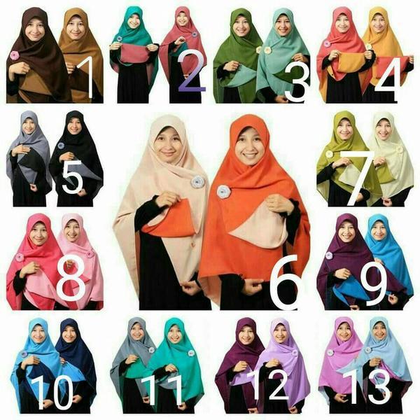 Jilbab Syari Segi Empat Bolak Balik/Hijab Segi Empat Syari Bolak Balik