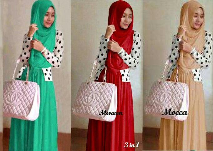 Shireen Polka Hijab 3in1 Spdk