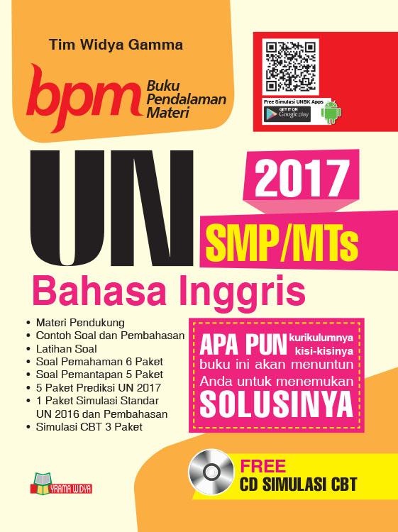 Jual Buku Ujian Nasional Un Smp Mts Bahasa Inggris Cd Cbt 2017 Bpm Yrama Widya Online