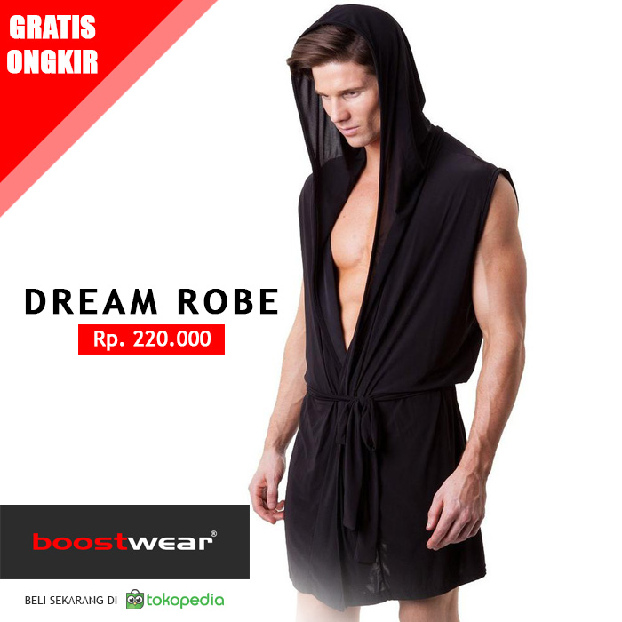 Jual Baju Tidur Pria Tipe Jubah Mimpi Hitam Boostwear