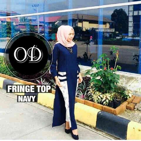 Baju Hijab Murah Fringe Top Navy