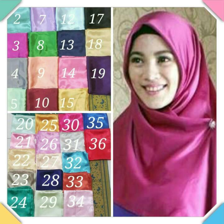 jilbab segiempat satin-hijab segiempat satin-kerudung segiempat satin