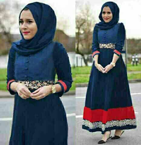 V1128 hijab maxi dress NURHALIZA Navy