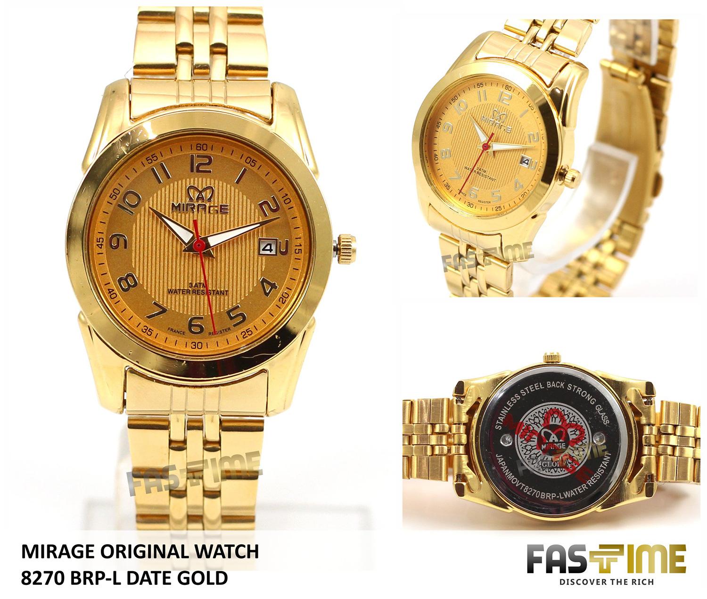 Jual Jam Tangan Wanita Japan Technology MIRAGE Original 8270 BRP-L Gold - Fastime Indonesia