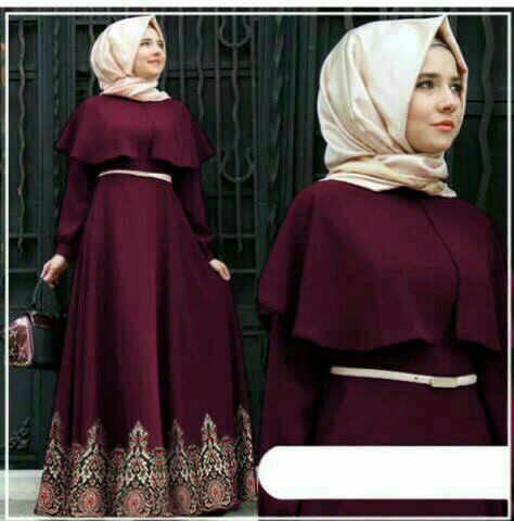 Maxi hijab Andini maroon batik
