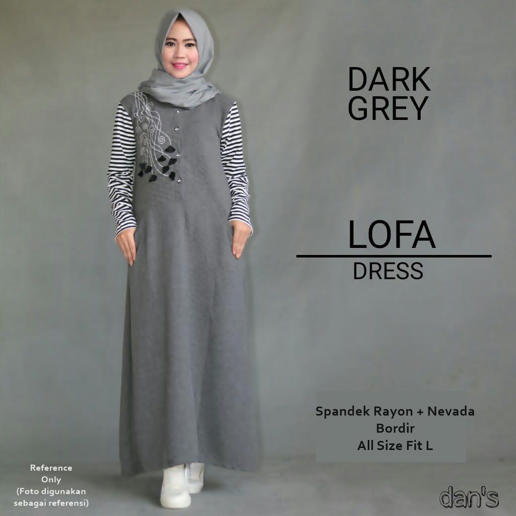 Jual Lofa Dress Dark Grey Gamis Remaja Myshiela Tokopedia