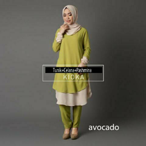 V1054 Hijab KIOKA AVOCADO setelan