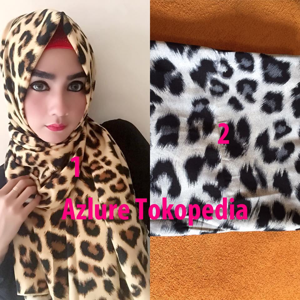 Hijab / Jilbab Pashmina Al-Mia Motif Macan 2 Warna