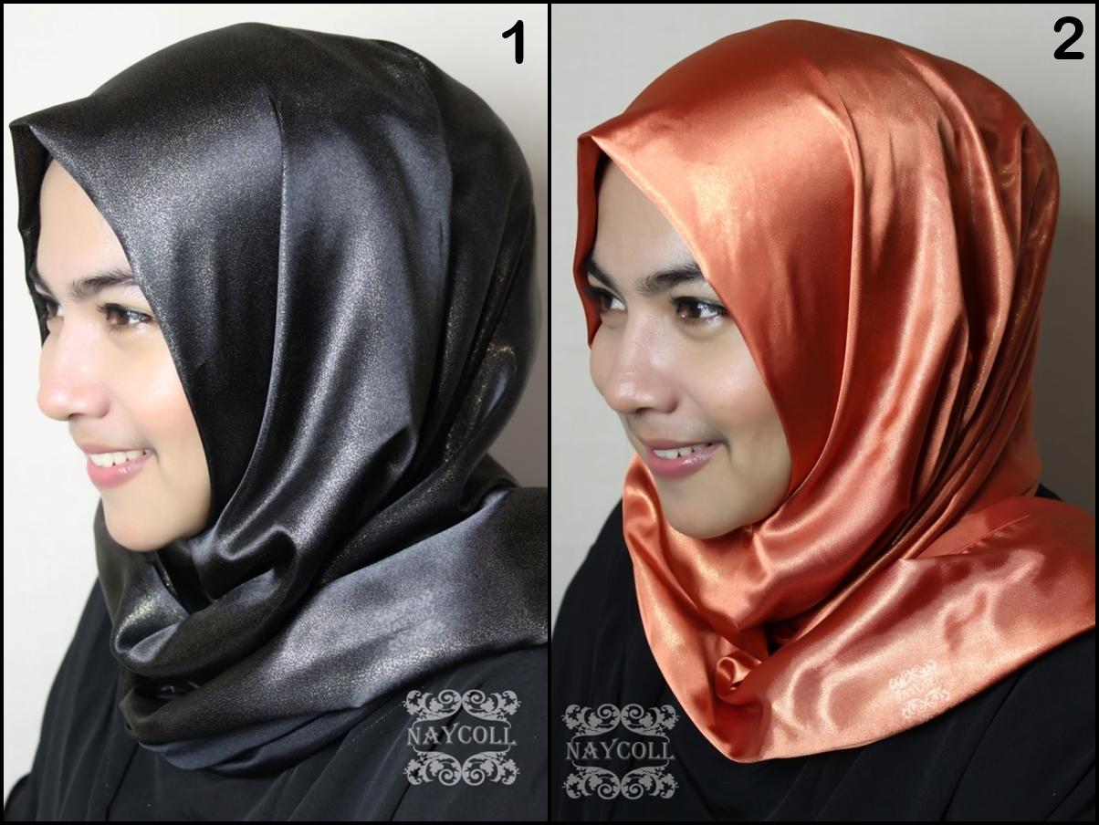 Jilbab Pashmina Satin Glitter Naycoll 01, Pasmina gliter, Hijab, murah