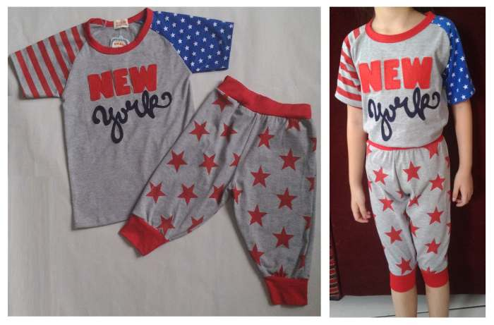 STKDL196 - Setelan Anak Laki New York Stars Red Pants Murah