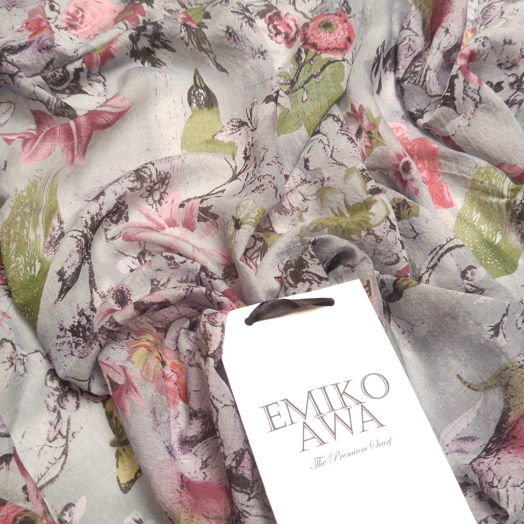 Grey birdie -  scarf / pashmina motif / hijab / syal / shawl