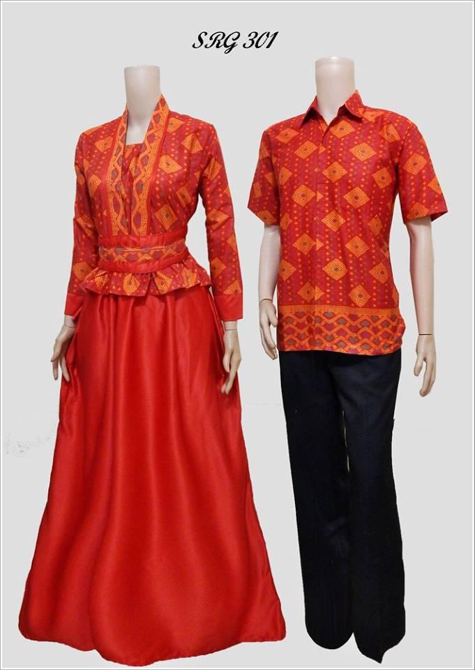 Jual Couple Batik Sarimbit Gamis Baju Pasangan Pesta