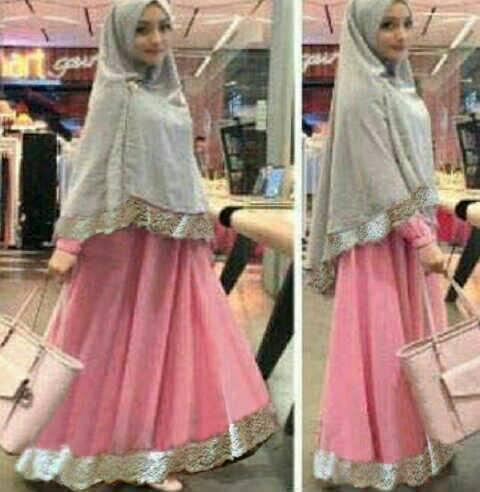Gamis Wanita / Baju Muslim / Hijab Syari Bergo Safira Pink