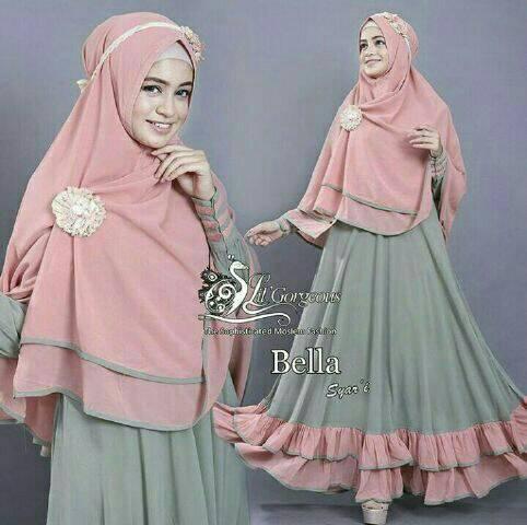 Ready banyak !!! Hijab Syari Bella Green