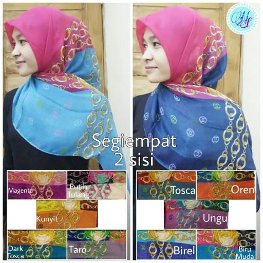 segiempat 2 sisi jilbab hijab square paris bolak balik