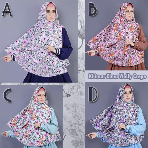 Hijab/Jilbab Khimar Elma Wolly Crepe Premium