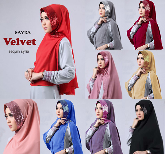 Hijab/Jilbab Instan Kerudung Khimar Jilbab Syari Velvet Sequin Syria