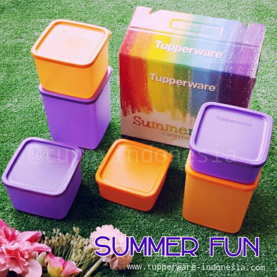 Tupperware Summer Fresh Collection Ungu Oranye Daftar Update Medium Jual