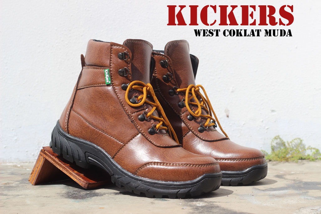 Sepatu Kickers Safety West Warna Coklat Muda