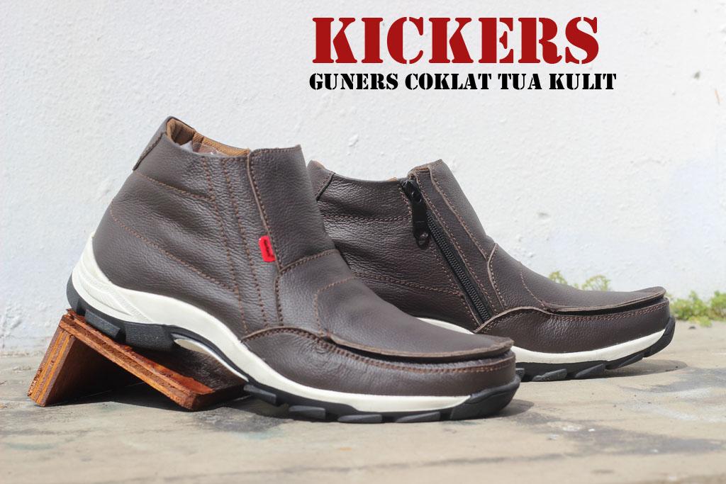 Sepatu Kickers Boots Sleeting Guner Coklat Tua