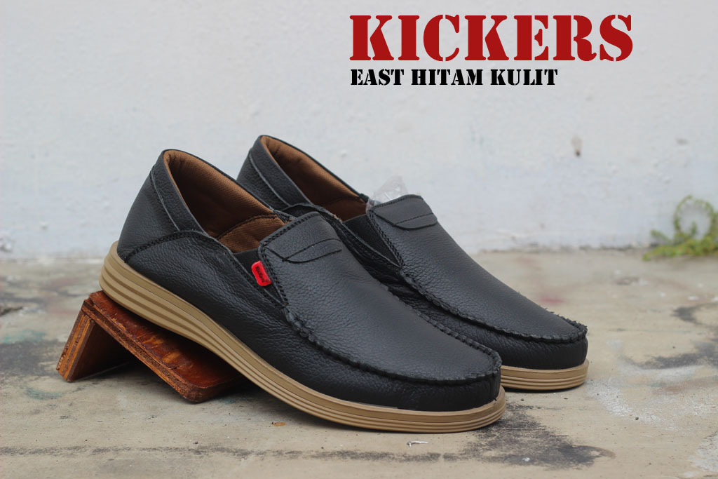 Sepatu Kickers Slop East Hitam Kulit