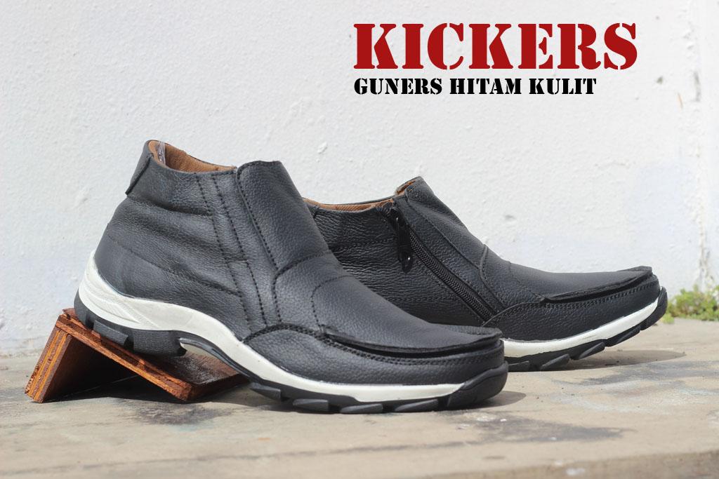 Sepatu Kickers Sleeting Gunners Hitam Kulit