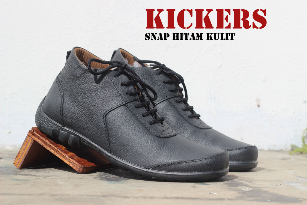 Sepatu Kickers Casual Snap Hitam Kulit