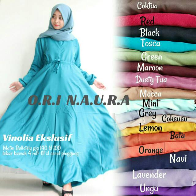 HIJAB GAMIS VINOLIA DRESS BALOTELLY LEBAR BUSUI XL