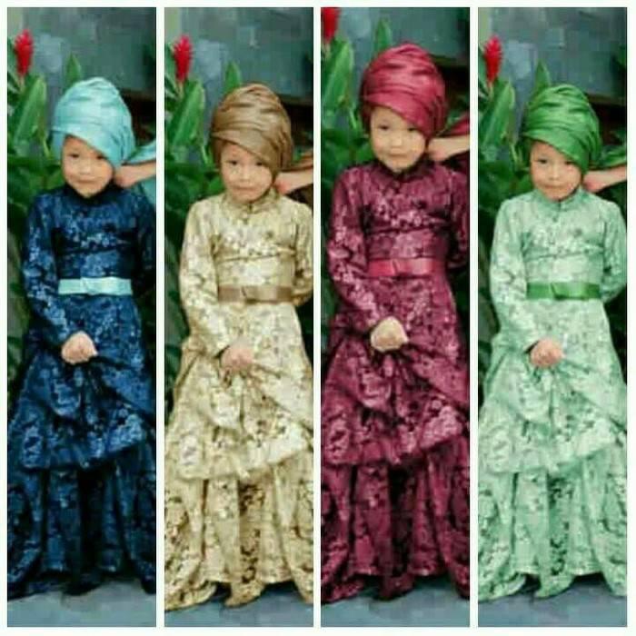 Maxi Gamis Hijab Anak 5-9 Tahun Kiki Obi Kids Biru Krem Pink Brukat