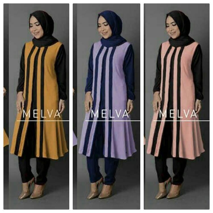 setelan hijab muslim XL XXL melva 3in1 / kemeja wanita maxi