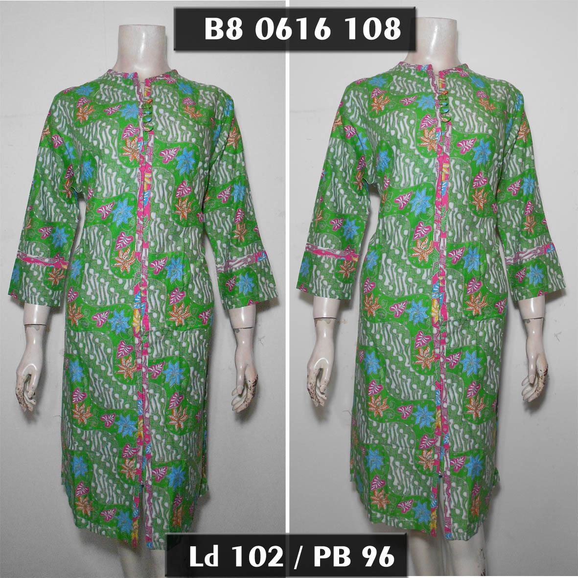 Jual Dress Batik Lengan 7 8 Hijau XL Tunik Batik Wanita Muslim