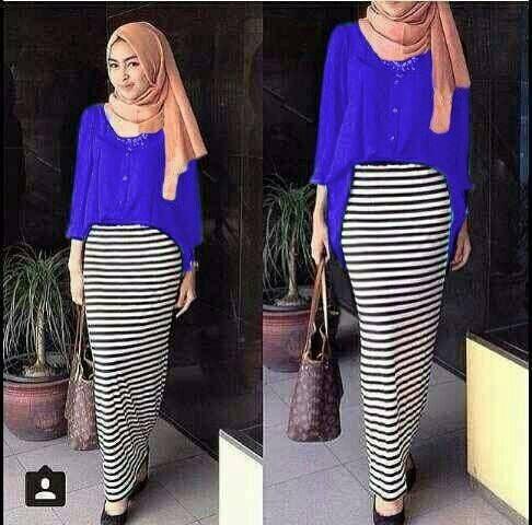 Hijab Salur Madinah Stripe Set 3in1