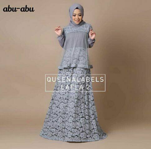 V1187 LAFLA Abu-Abu hijab maxi dress