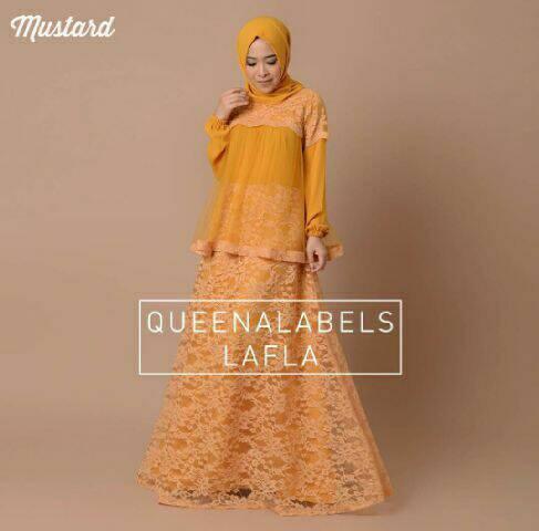V1186 LAFLA Kuning Mustard hijab maxi dress