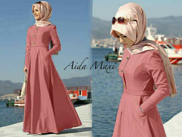 V1094 hijab maxi AIDA PINK dress