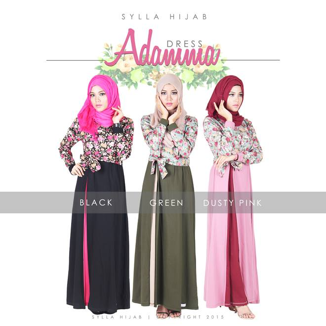 Jual Baju Muslim Sylla Hijab Adamma Dress Baju Gamis Katun Jepang