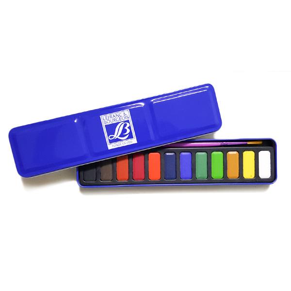 Lefranc Watercolour Box Tin 12 + Brush
