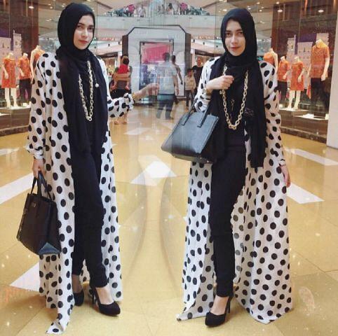 HAFIFAH HIJAB 4IN1 black long cardi polka + inner + celana + pasmina,